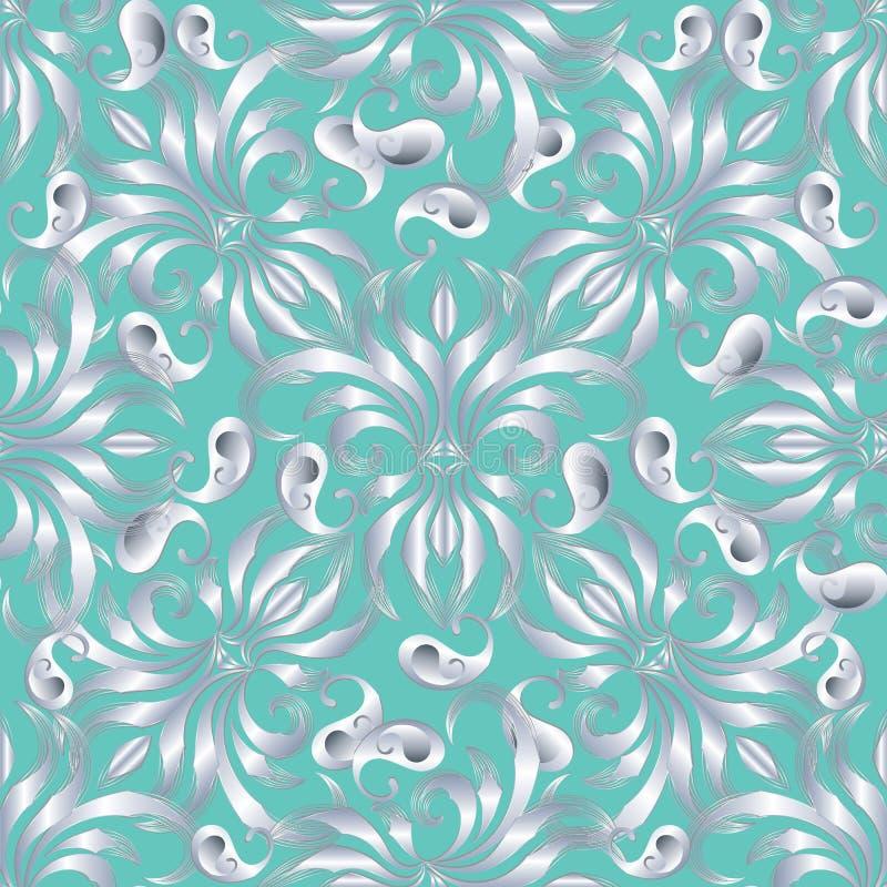 Картина Пейсли элегантности безшовная Backg бирюзы вектора флористическое иллюстрация вектора