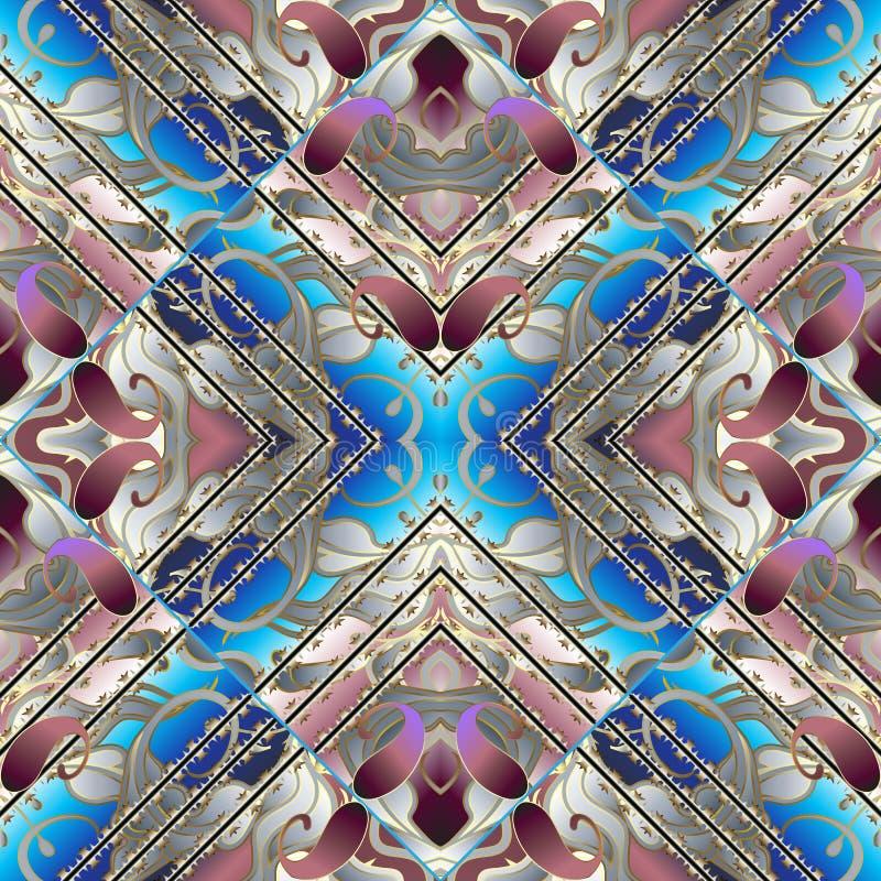 Картина Пейсли 3d безшовная вектор абстрактной предпосылки флористический стоковое фото