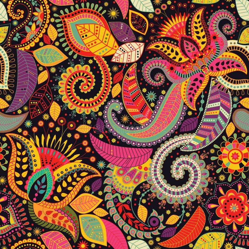 Картина Пейсли флористическая безшовная индийский орнамент Цветки и Пейсли вектора декоративные Этнический тип Дизайн для иллюстрация вектора