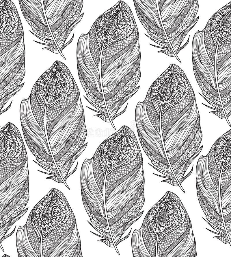 картина пера безшовная Американский родной орнамент бесплатная иллюстрация