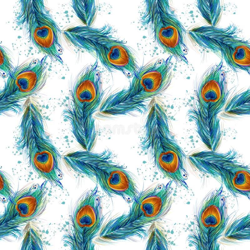 Картина пера павлина безшовная иллюстрация вектора