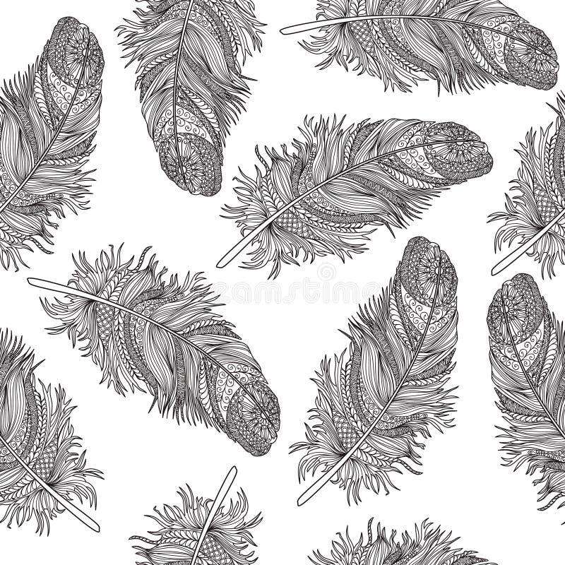 Картина пера птиц орнаментальная безшовная Американский родной знак иллюстрация штока