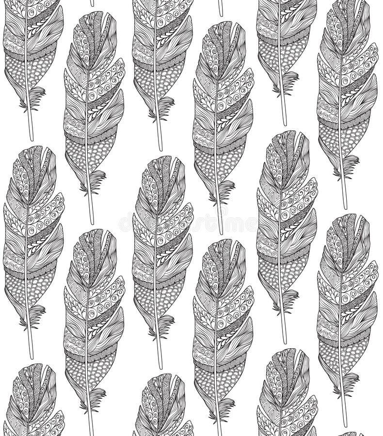 Картина пера птиц орнаментальная безшовная Американский родной знак бесплатная иллюстрация