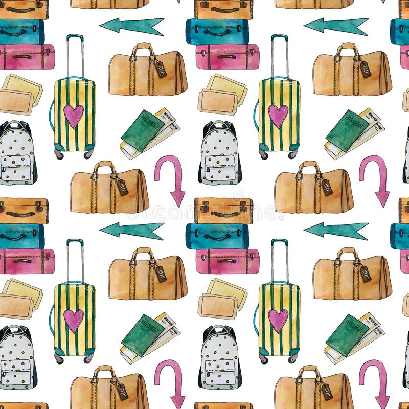 Картина перемещения акварели безшовная с чемоданом, сумкой, рюкзаком, стрелками, паспортом и билетами бесплатная иллюстрация