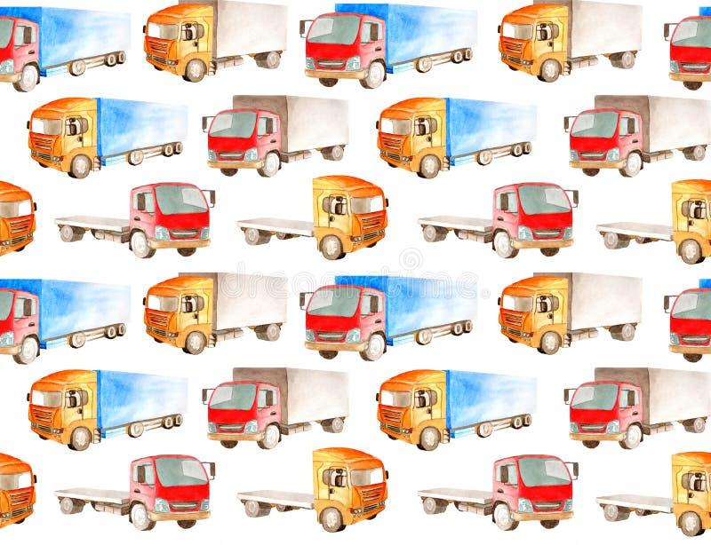 Картина перехода безшовная других цветов, форм и типов тележек и фургонов на белой предпосылке в стиле акварели для иллюстрация вектора