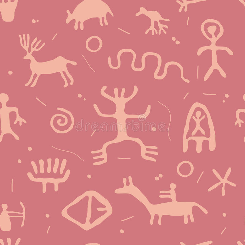 Картина петроглифов безшовная иллюстрация штока