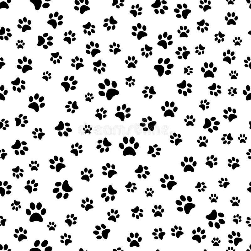 Картина печати лапки безшовная Трассировки картины ткани кота иллюстрация вектора