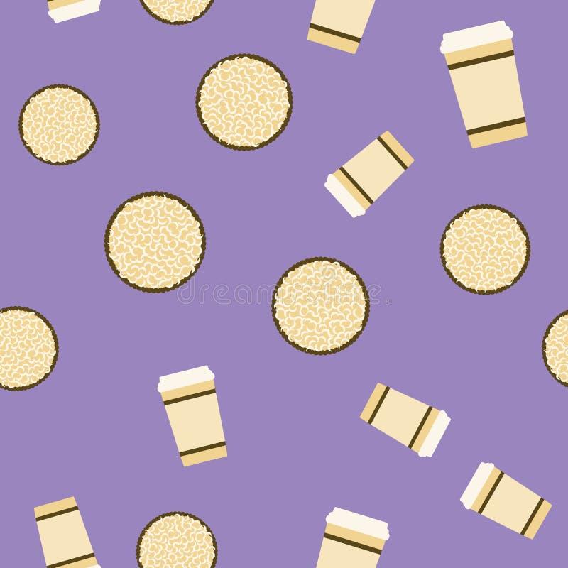 Картина печенья & кофе Предпосылка еды безшовного вектора плоская иллюстрация вектора