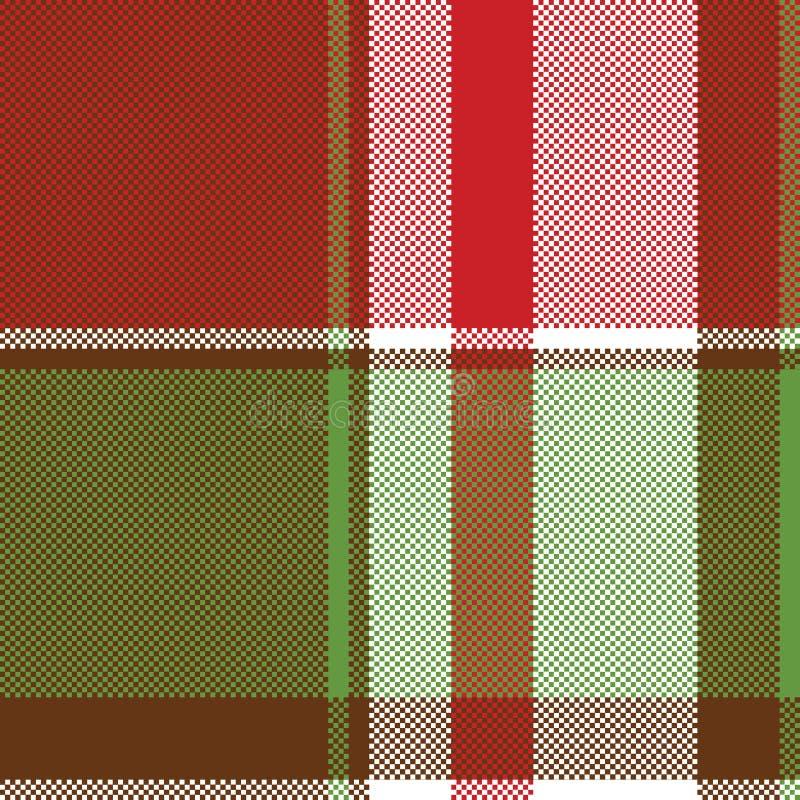 Картина пиксела красной зеленой абстрактной шотландки безшовная бесплатная иллюстрация
