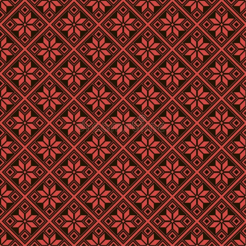 Картина пиксела старая белорусская славянская Черный и красный этнический орнамент стоковое фото