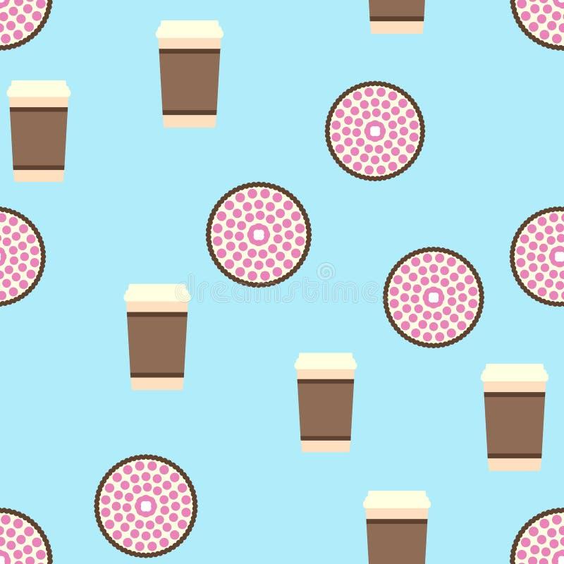 Картина пирога и кофе Предпосылка еды безшовного вектора плоская иллюстрация штока