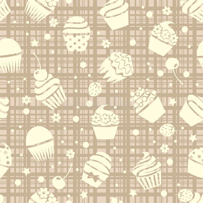 Картина пирожного безшовная с пирожными иллюстрация вектора