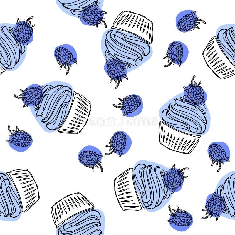 Картина пирожного нарисованная рукой безшовная Buttercream пирожного и поленики Doodle еда вареников предпосылки много мясо очень иллюстрация вектора