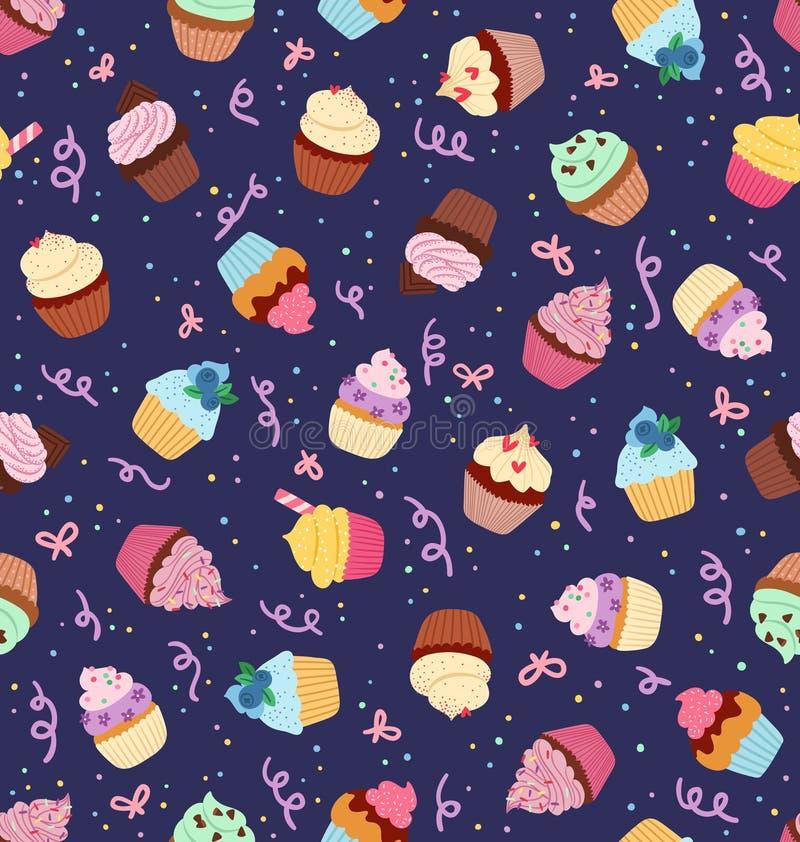 Картина пирожных безшовная на темносиней предпосылке бесплатная иллюстрация