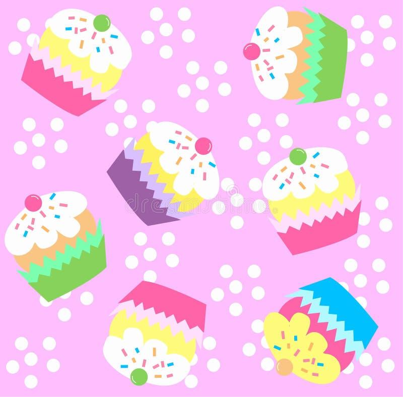 картина пирожня безшовная иллюстрация вектора