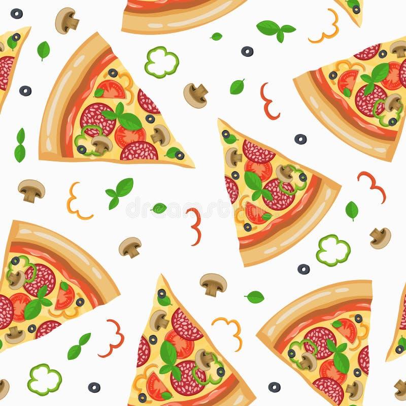 Картина пиццы безшовная с кусками иллюстрация вектора