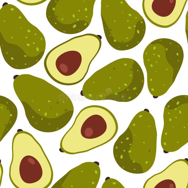 Картина плода авокадоа безшовная на белой предпосылке бесплатная иллюстрация