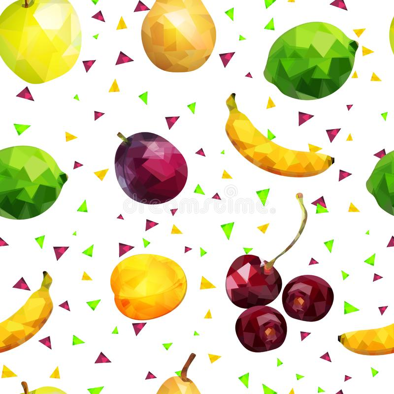 Картина плода безшовная: яблоки, известка, апельсин, груша, ягоды банана и сливы и абрикос и вишня в низком поли стиле, на белизн иллюстрация штока