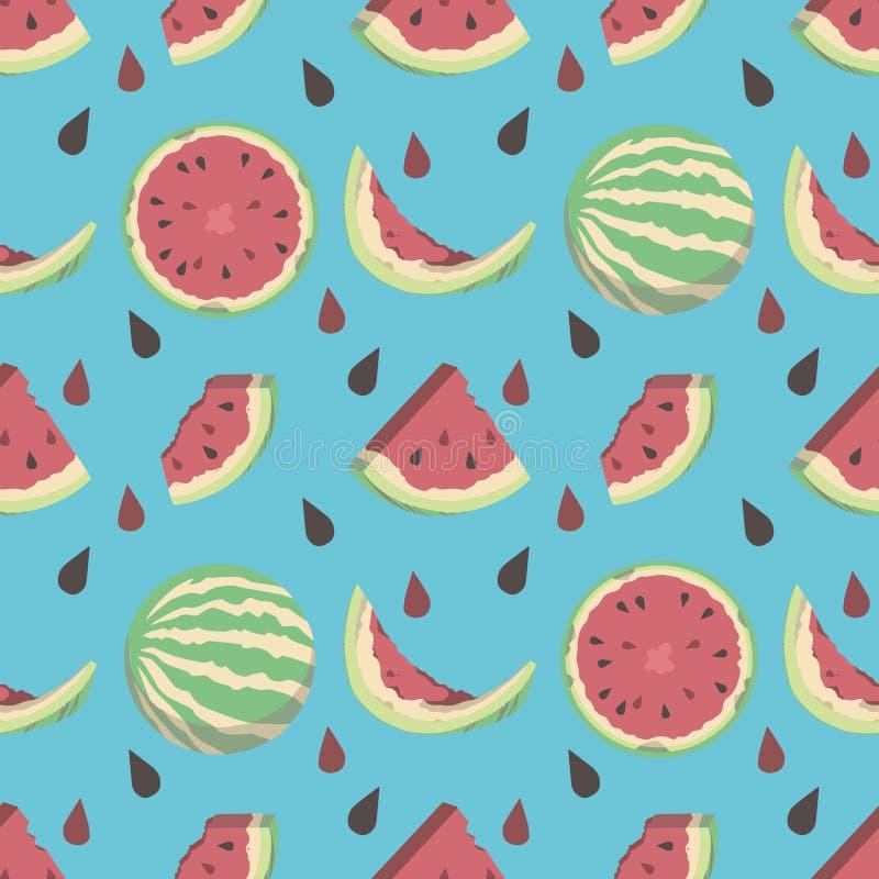 Картина плода лета стиля мультфильма потехи яркая голубая безшовная с полными и половинными арбузами и семенами иллюстрация вектора