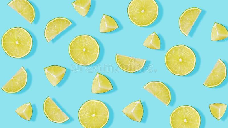 Картина плода от частей известки на голубой предпосылке стоковые изображения rf