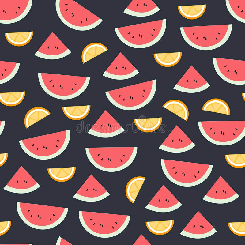 Картина плодоовощ арбуза на темноте Предпосылка яркого красивого цитруса безшовная Иллюстрация вектора в квартире бесплатная иллюстрация