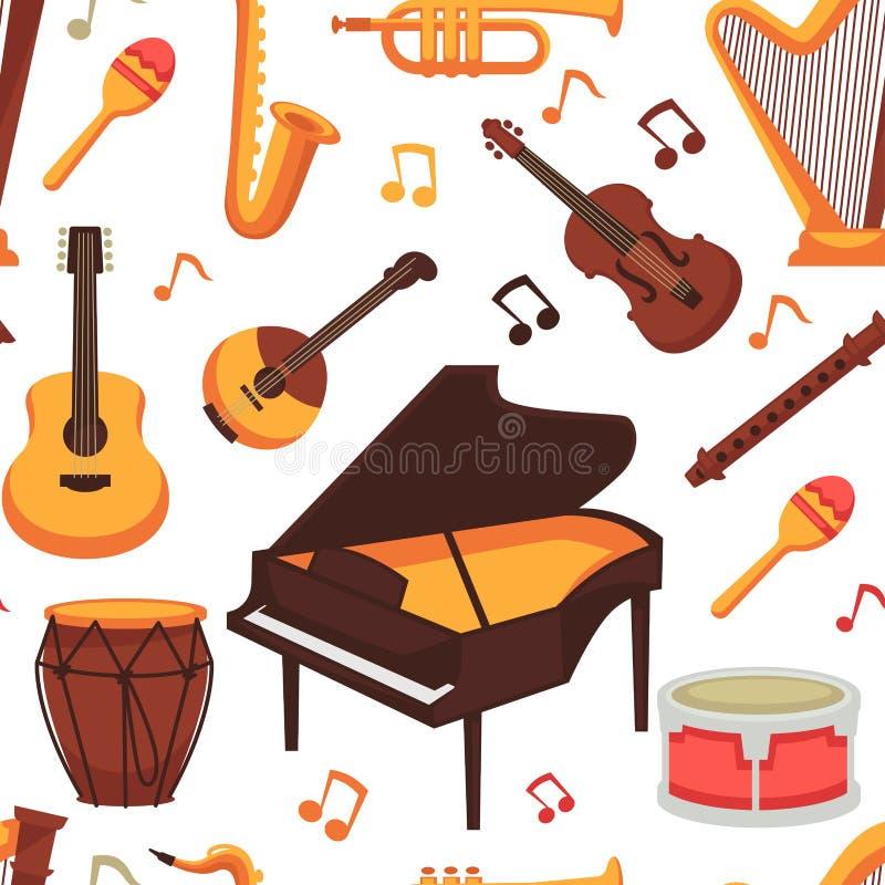 Картина плоских значков музыкальных инструментов безшовная Изолированный вектор иллюстрация штока