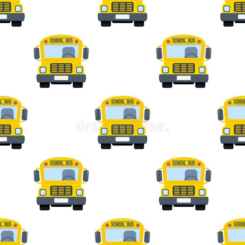 Картина плоского значка школьного автобуса безшовная иллюстрация штока