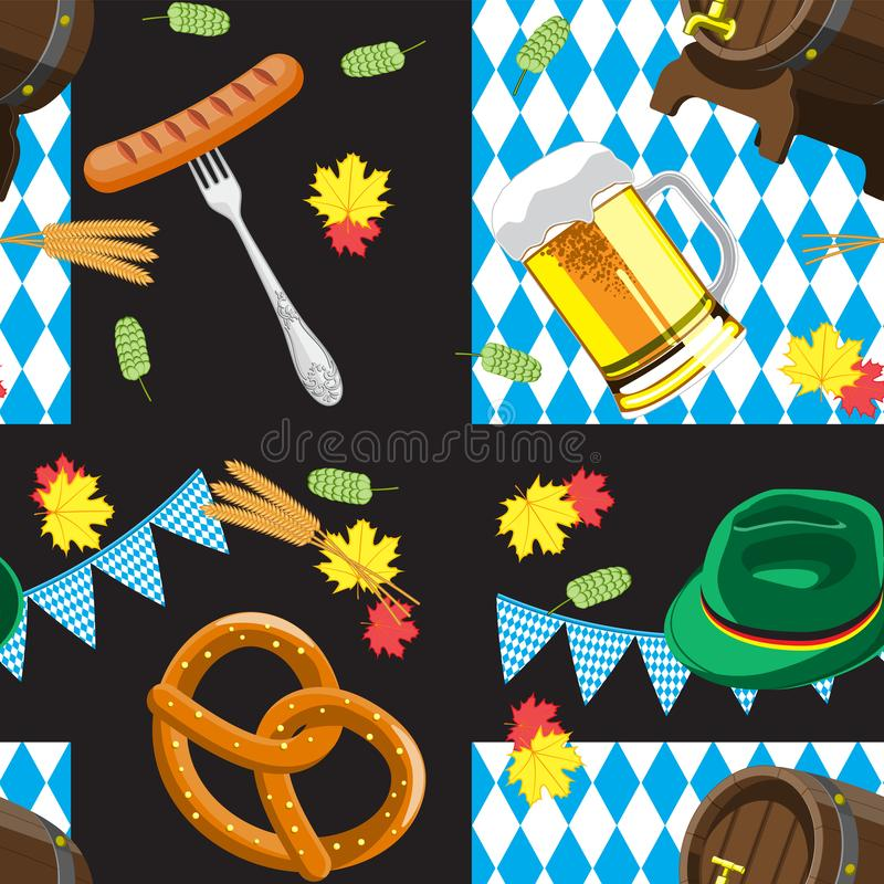 Картина плоского цвета вектора Oktoberfest безшовная для немецкого фестиваля пива в Мюнхене Изображение кружки пива, кренделя и б иллюстрация штока
