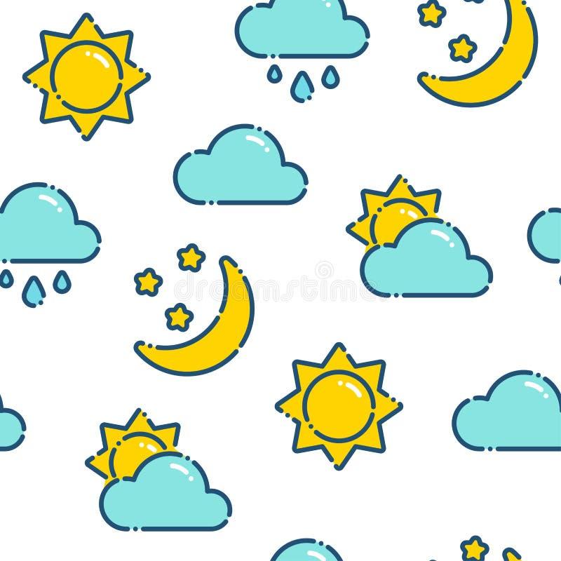 Картина плоской погоды плана безшовная иллюстрация штока