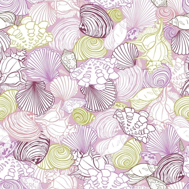 Картина повторения вектора пурпурная с разнообразием overlaping seashells Романтичная розовая тема Улучшите для ткани, scrapbooki иллюстрация вектора