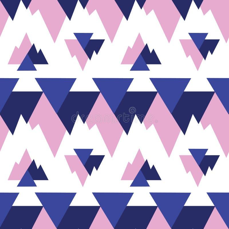 Картина повторения голубого розового ikat треугольников безшовная стоковое изображение