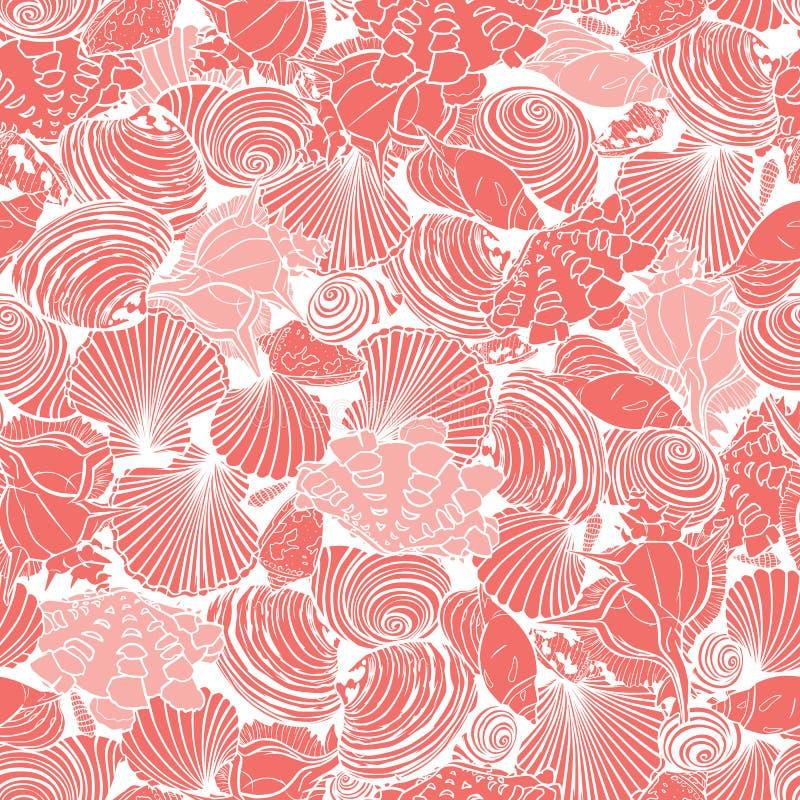 Картина повторения коралла вектора розовая с разнообразием overlaping seashells Улучшите для ткани, scrapbooking, обои бесплатная иллюстрация