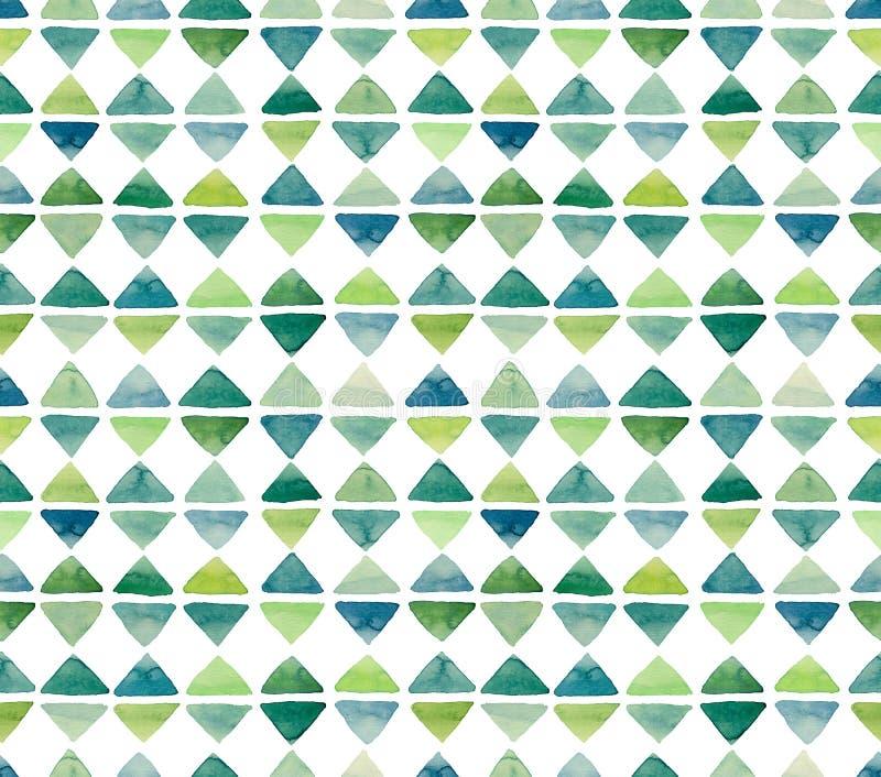 Картина повторения маленьких зеленых треугольников акварели безшовная иллюстрация вектора