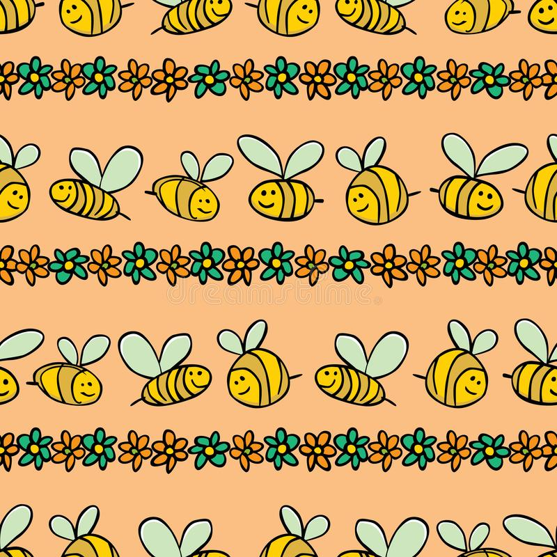 Картина повторения нашивок пчел и цветков вектора пастельная оранжевая Соответствующий для обруча, ткани и обоев подарка иллюстрация вектора