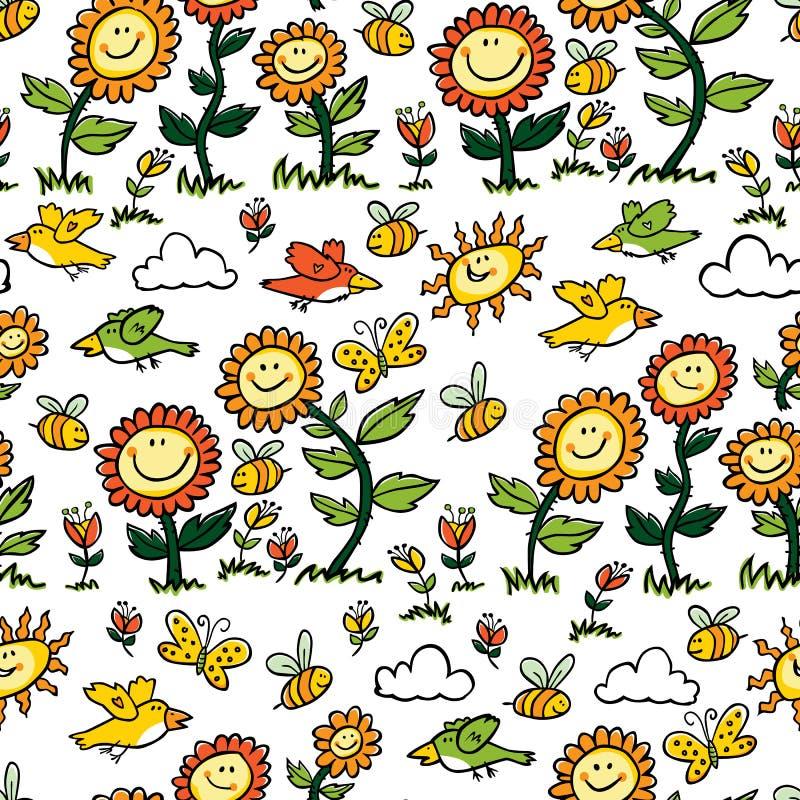 Картина повторения солнцецветов, птиц и пчел мультфильма вектора красочная Соответствующий для обруча, ткани и обоев подарка иллюстрация вектора