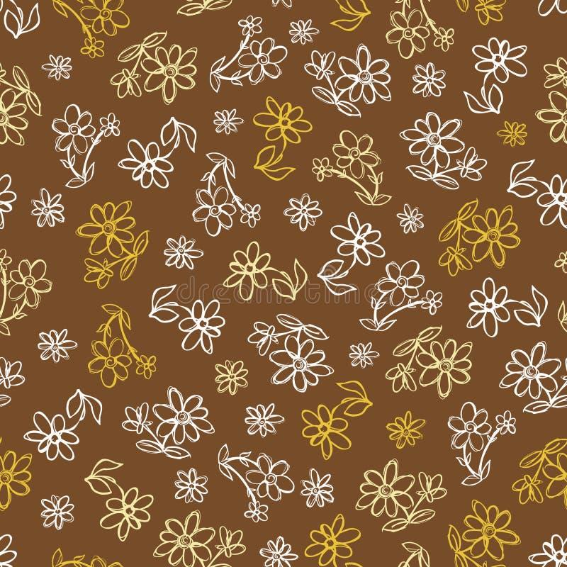 Картина повторения цветков руки коричневого цвета вектора вычерченная Соответствующий для обруча, ткани и обоев подарка иллюстрация штока