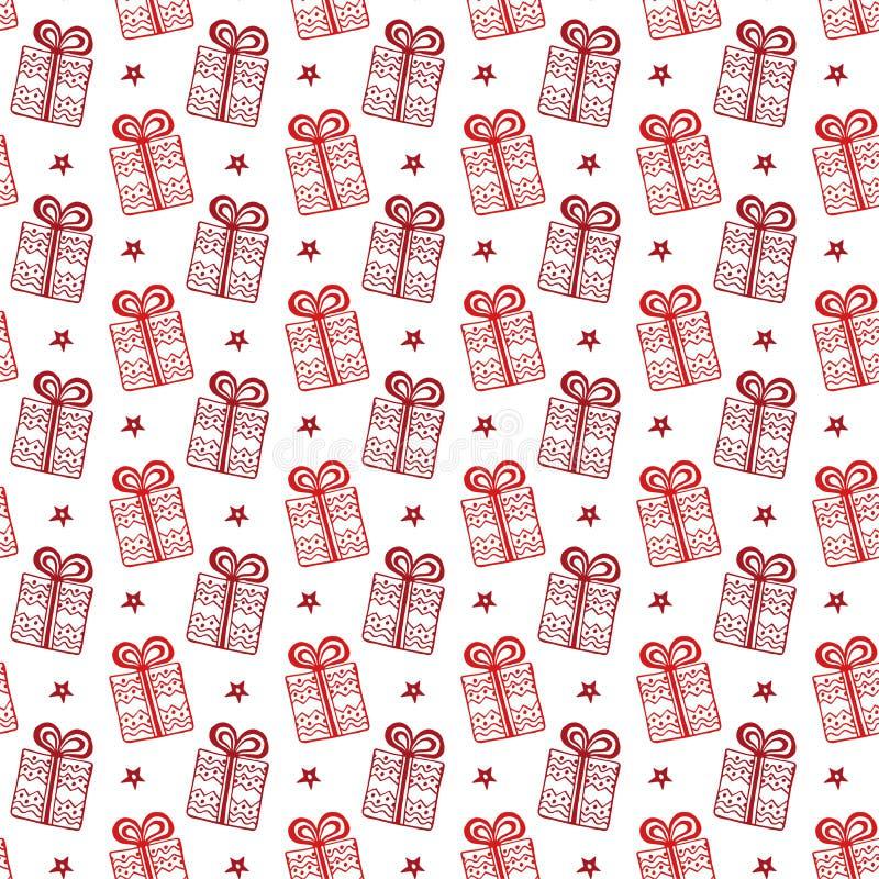 Картина подарочных коробок рождества вектор предпосылки праздничный оборачивать вектора темы бумаги иллюстрации напитков ретро иллюстрация вектора
