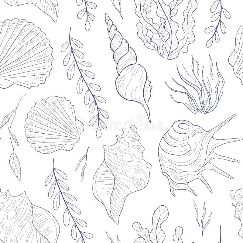 Картина подводного мира безшовная, морская тема, морская водоросль и Seashells вручают вычерченную иллюстрацию вектора бесплатная иллюстрация