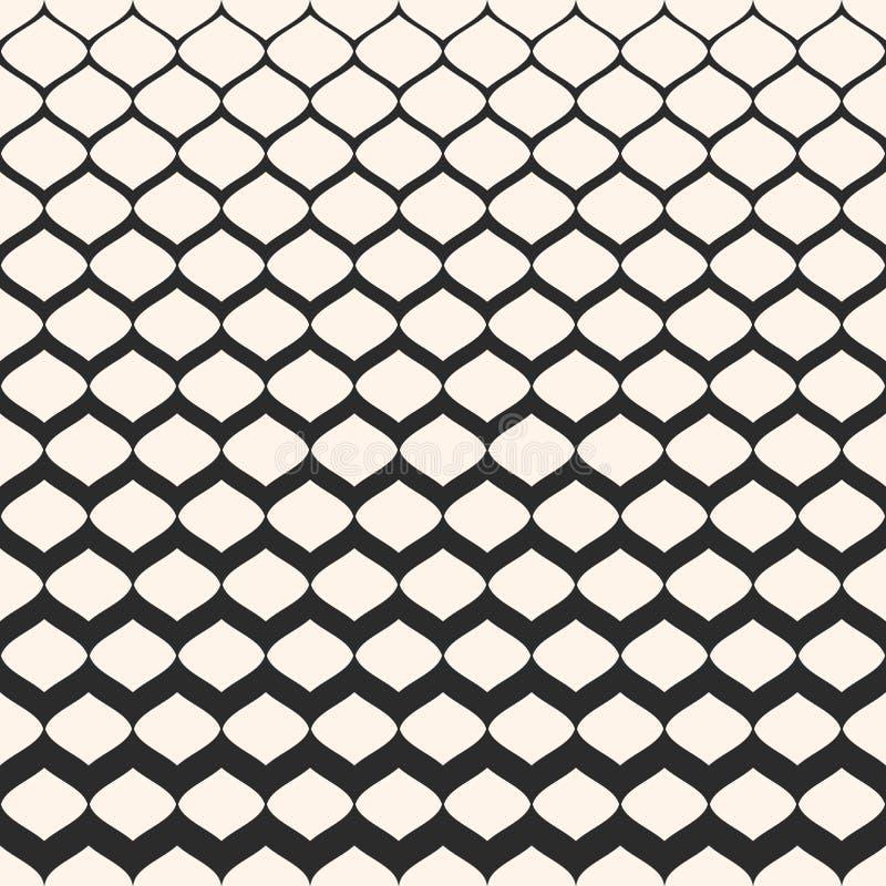 Картина полутонового изображения безшовная, текстура сетки с постепенно толщиной иллюстрация вектора
