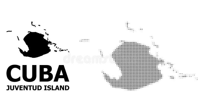 Картина полутонового изображения вектора и твердая карта острова Juventud бесплатная иллюстрация