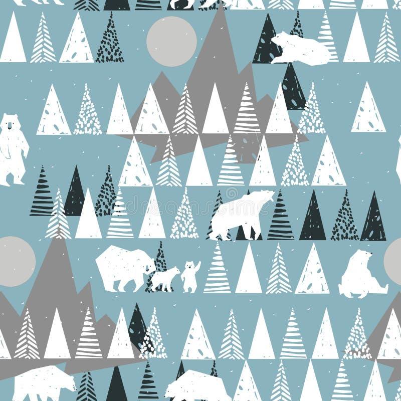 Картина полярного медведя безшовная предпосылка природы зимы одичалая иллюстрация вектора