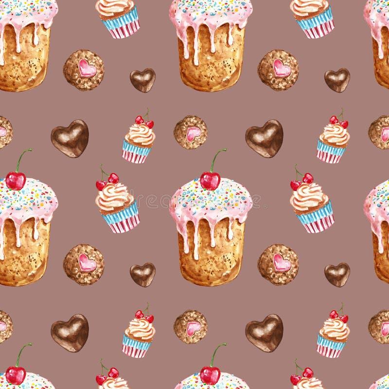 Картина помадок и десертов акварели безшовная Рука покрасила обслуживания торт дня рождения, пирожное, печенье, изолированную кон иллюстрация штока