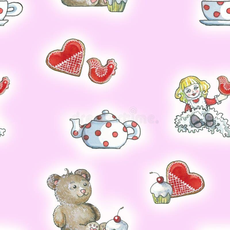 Картина помадок чая игрушки розовая иллюстрация штока