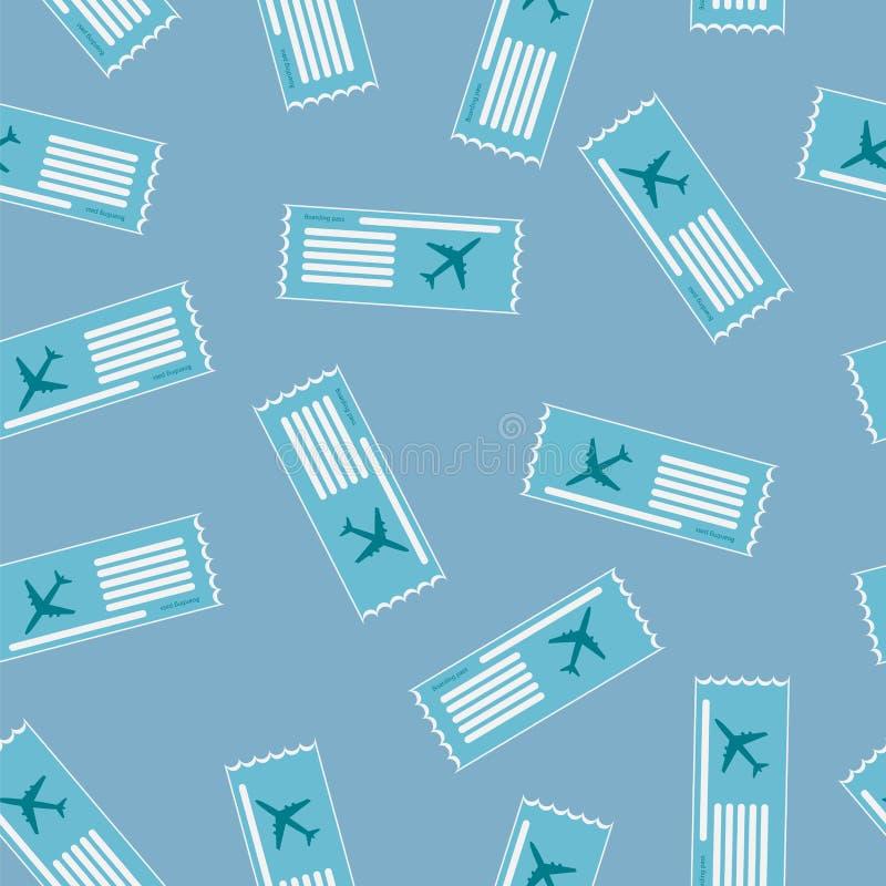 Картина посадочного талона авиакомпании безшовная иллюстрация штока