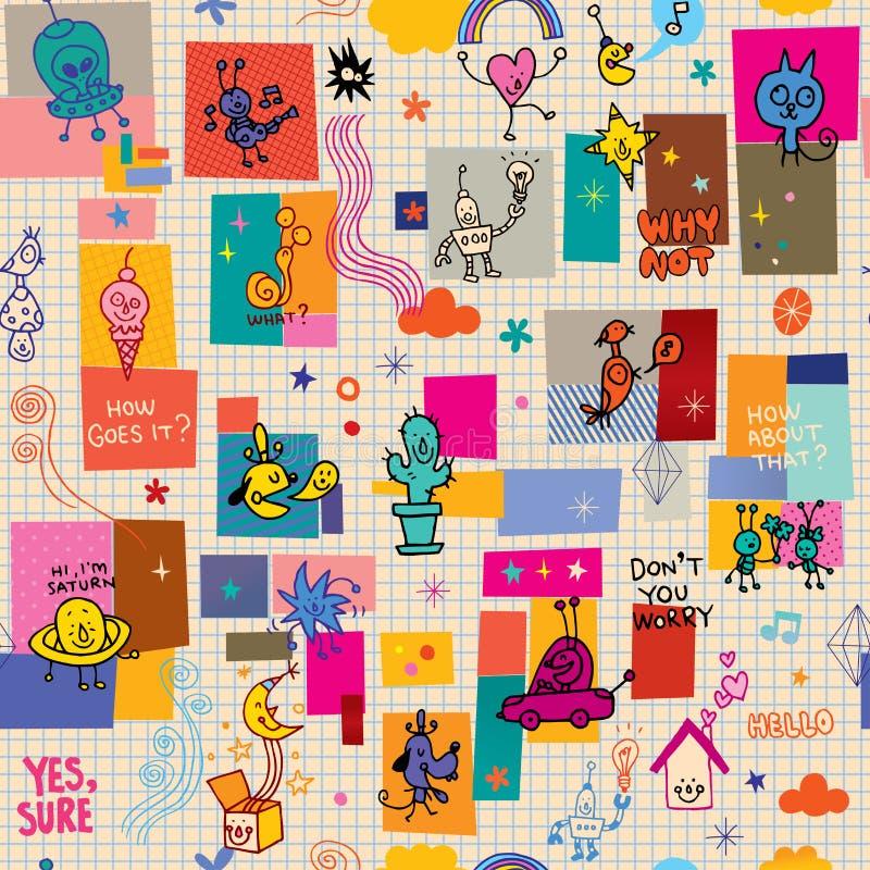Картина потехи комических персонажей шаржа безшовная иллюстрация вектора