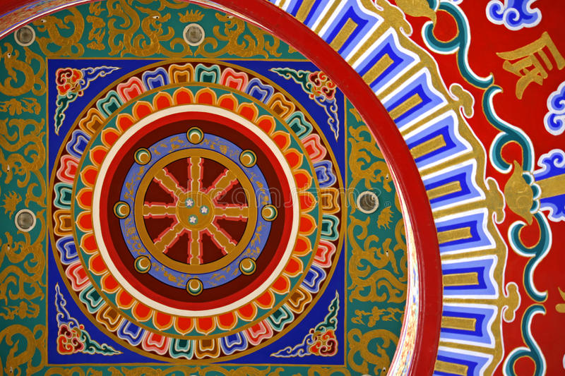 картина потолка китайская цветастая стоковое изображение rf