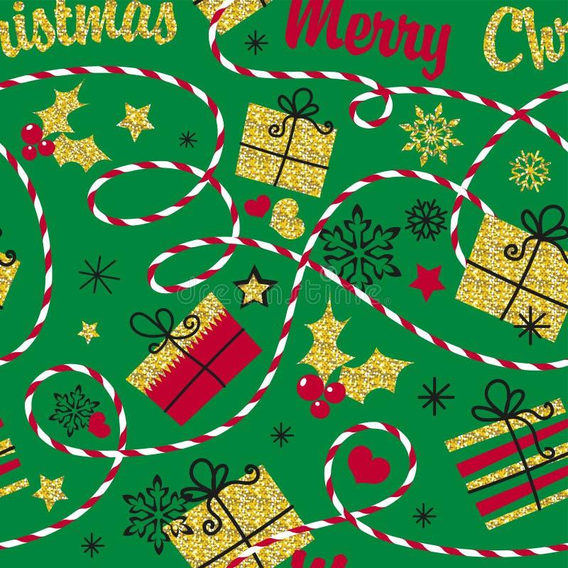 картина праздника безшовная Предпосылка зимы для упаковочной бумаги и карточки с золотыми сияющими снежинками, рождественской елк иллюстрация вектора