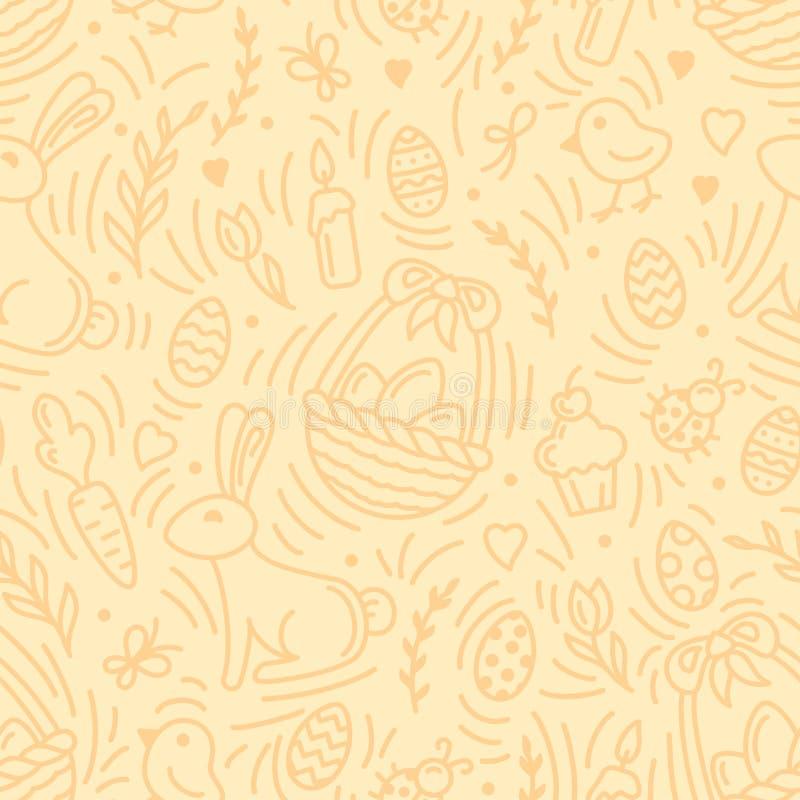 Картина праздника пасхи безшовная с яйцами, кроликами и другими элементами иллюстрация вектора