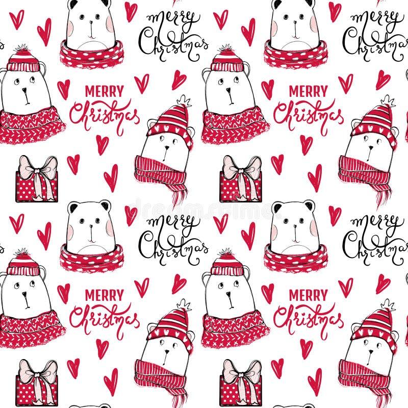 Картина праздников безшовная с смешным медведем Вектор нарисованный рукой ted иллюстрация штока