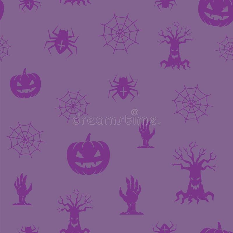 Картина предпосылки вектора значков хеллоуина потехи безшовная Пауки, тыквы и деревья Soopky и руки зомби с сетью иллюстрация вектора